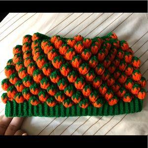 🔴New Colorful Orange & Green Crochet Handmade Hat